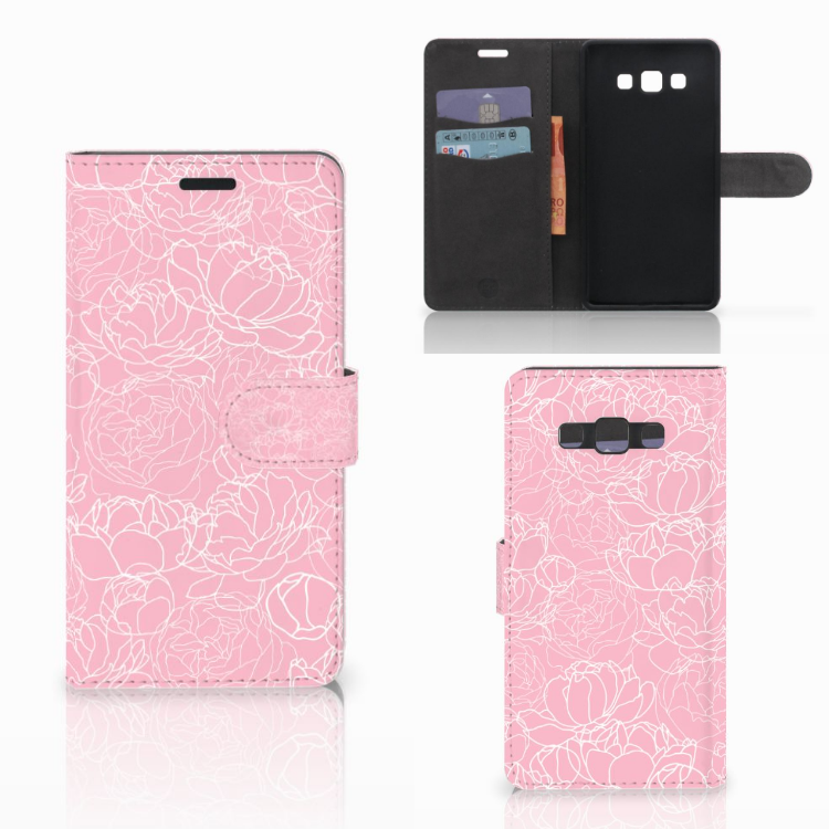 Samsung Galaxy A7 2015 Wallet Case White Flowers