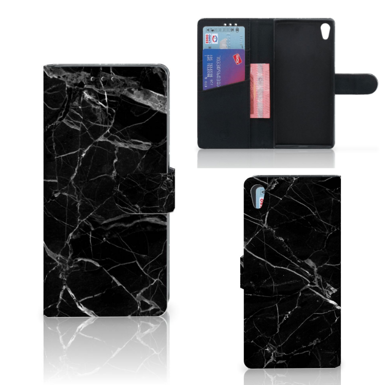 Sony Xperia XA1 Ultra Bookcase Marmer Zwart - Origineel Cadeau Vader