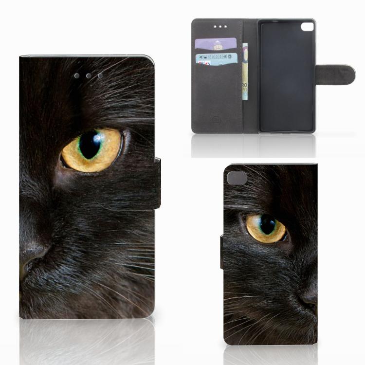 Huawei P8 Telefoonhoesje met Pasjes Zwarte Kat