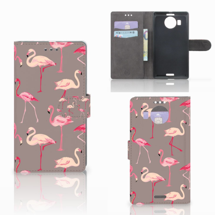 Microsoft Lumia 950 XL Telefoonhoesje met Pasjes Flamingo