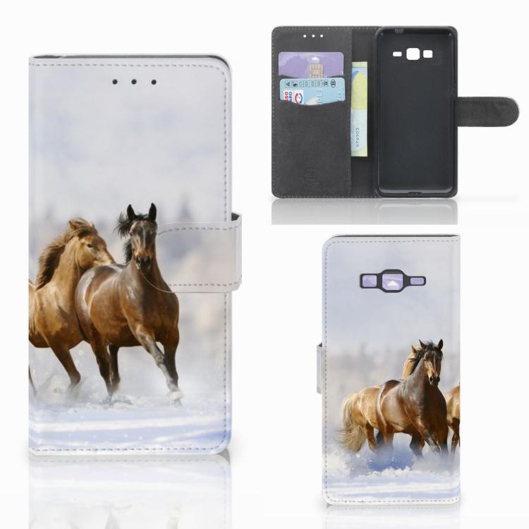 Samsung Galaxy Grand Prime | Grand Prime VE G531F Telefoonhoesje met Pasjes Paarden