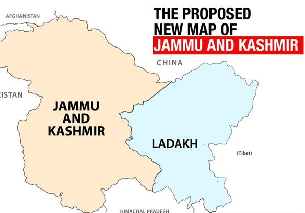 New proposed map of Jammu and Kashmir