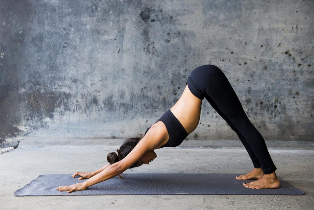 Yoga downward-facing dog Position.