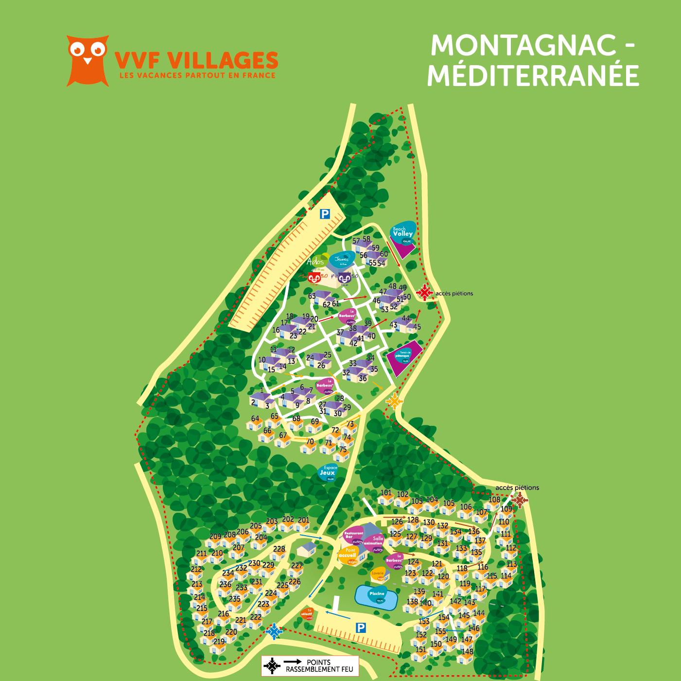 Plan du village de Montagnac-Mediterranée