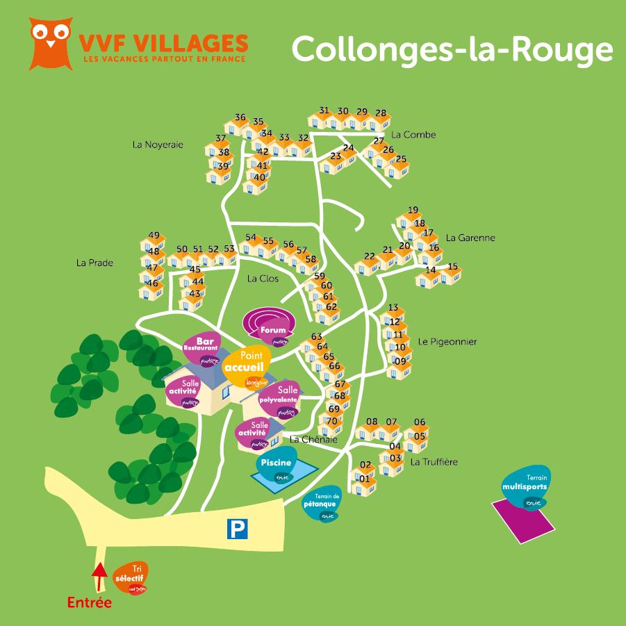 Plan du village de Collonges-la-Rouge