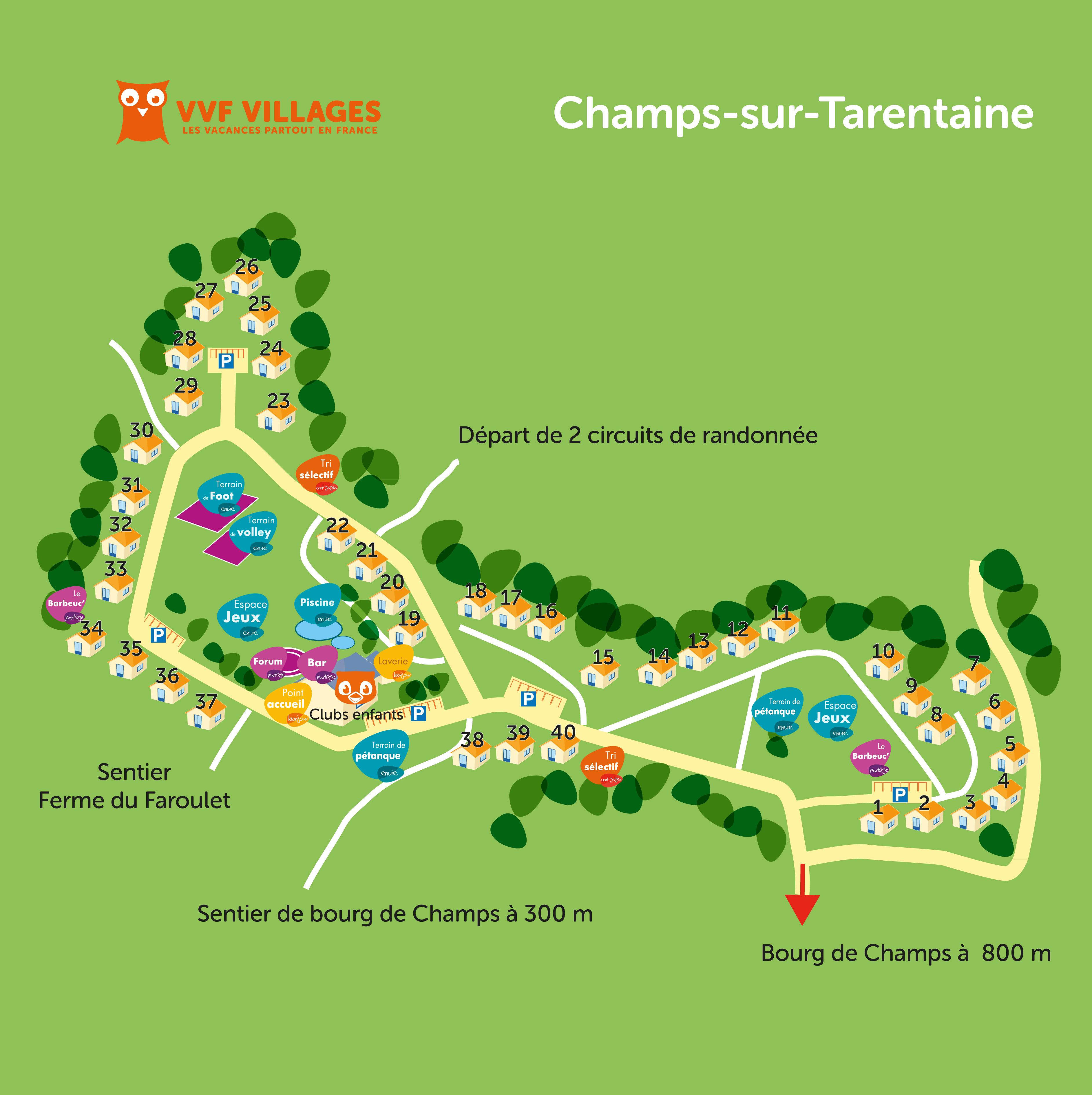 Plan du village de Champs-sur-Tarentaine