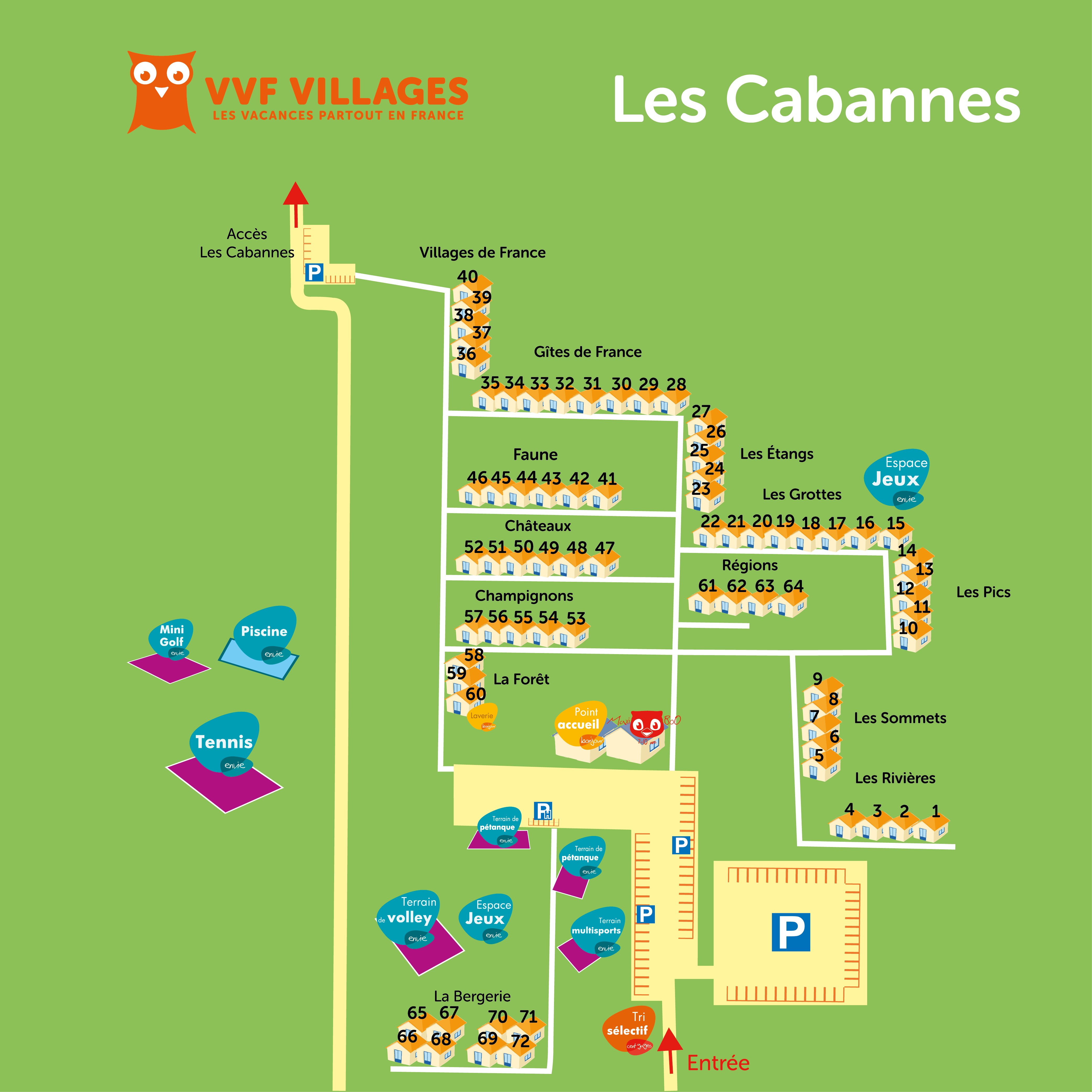 Plan du village de Les Cabannes