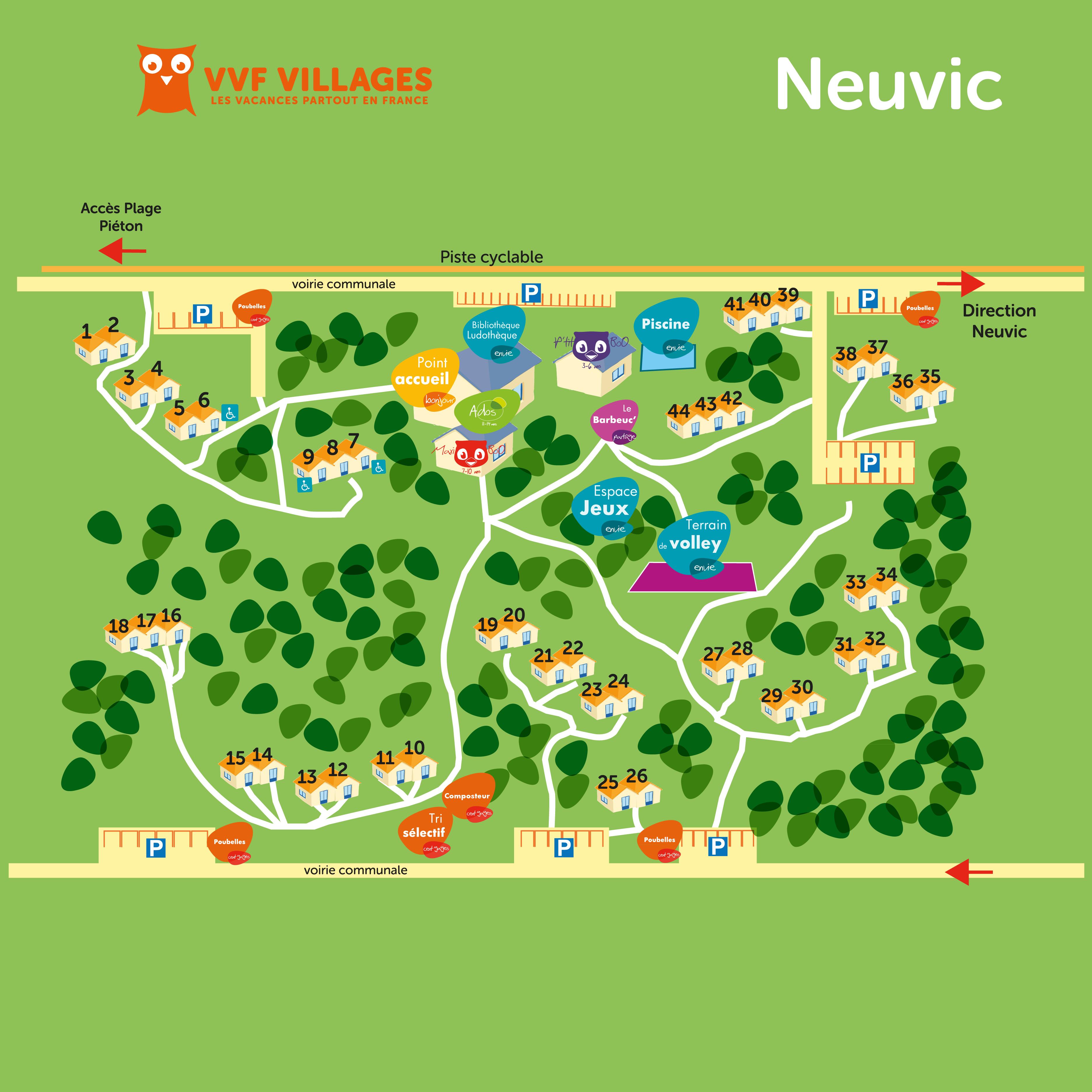 Plan du village de Neuvic Plage