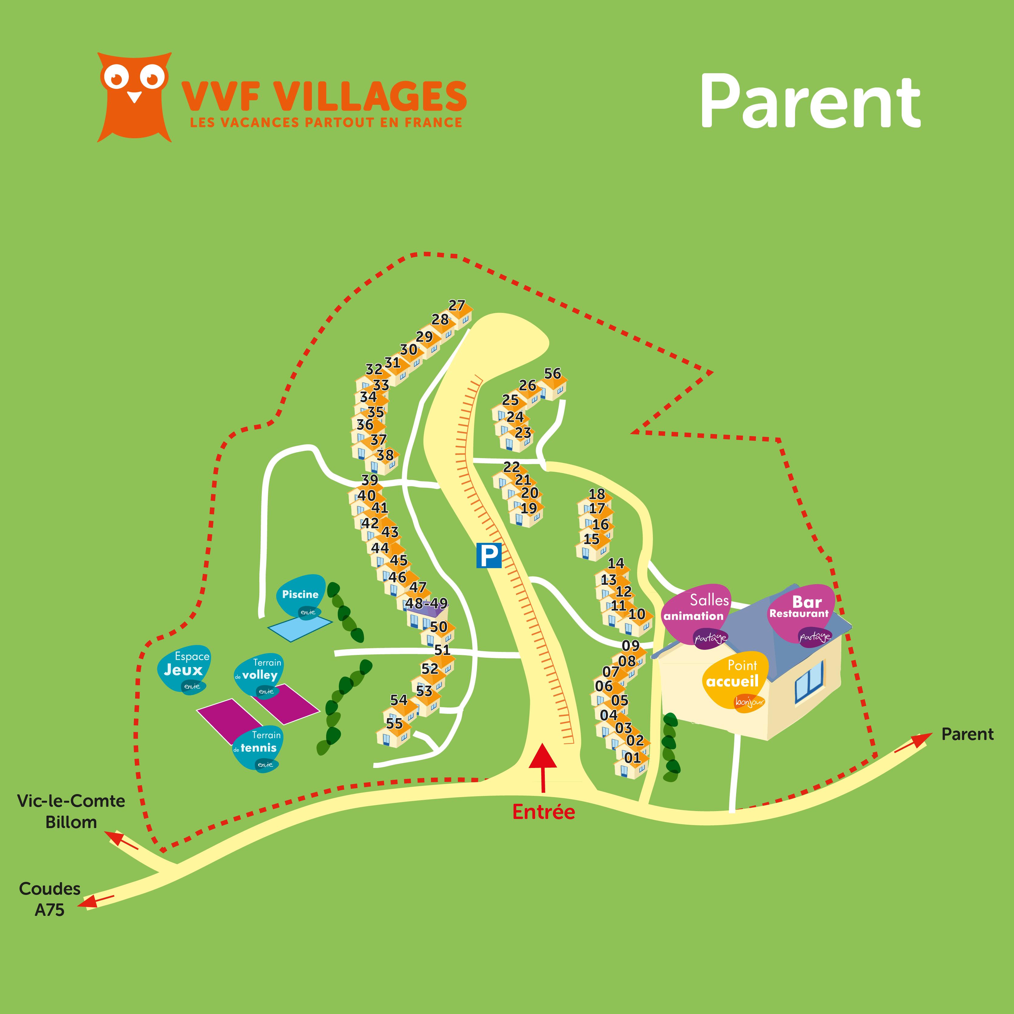 Plan du village de Parent