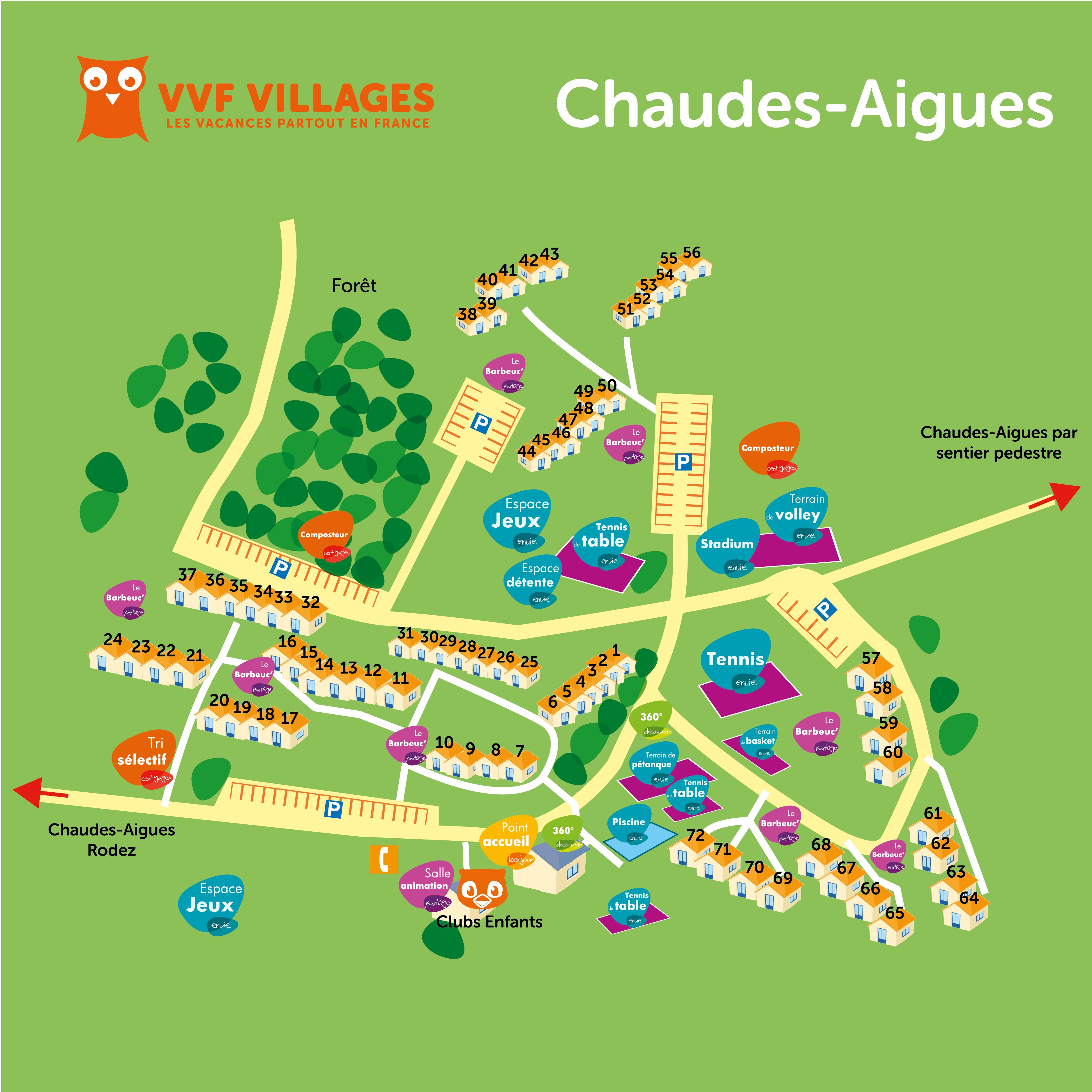 Plan du village de Chaudes-Aigues