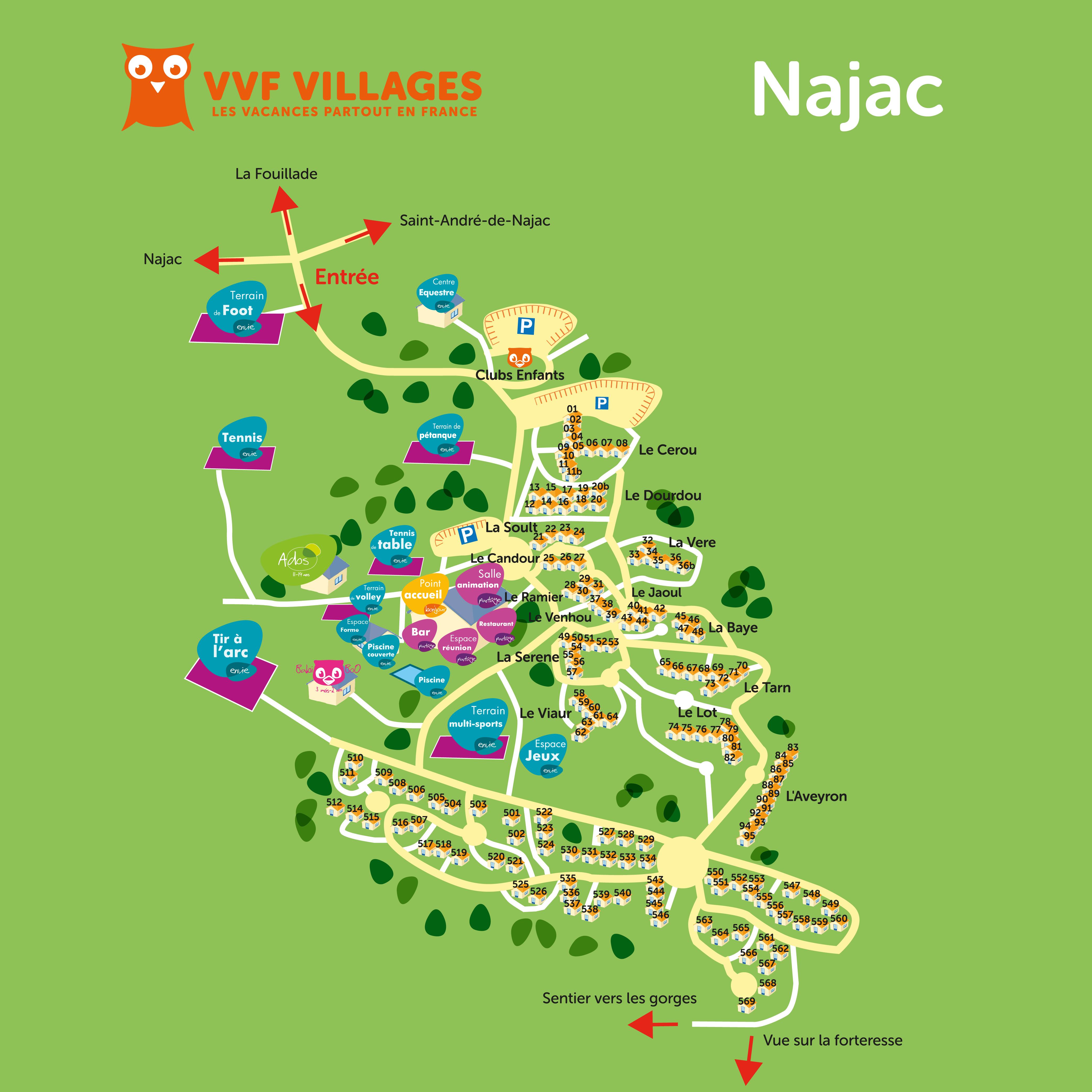 Plan du village de Najac
