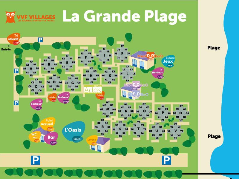 Plan du village de La Grande Plage - Le Barcarès