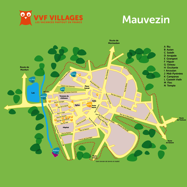 Plan du village de Mauvezin