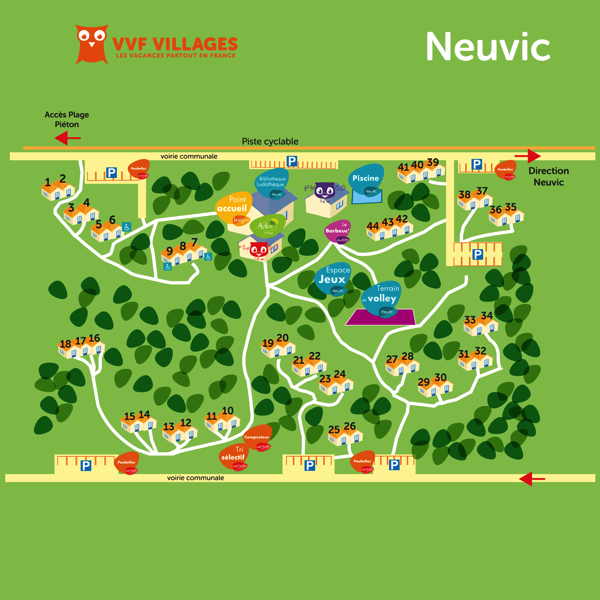 Plan du village de Neuvic Plage