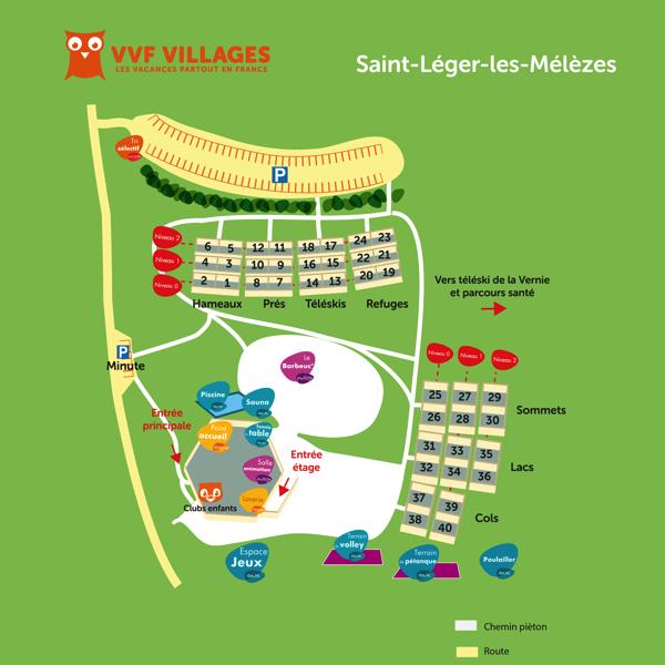 Plan du village de Saint-Léger-les-Mélèzes