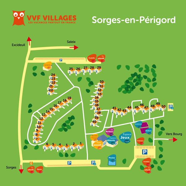 Plan du village de Sorges-en-Périgord
