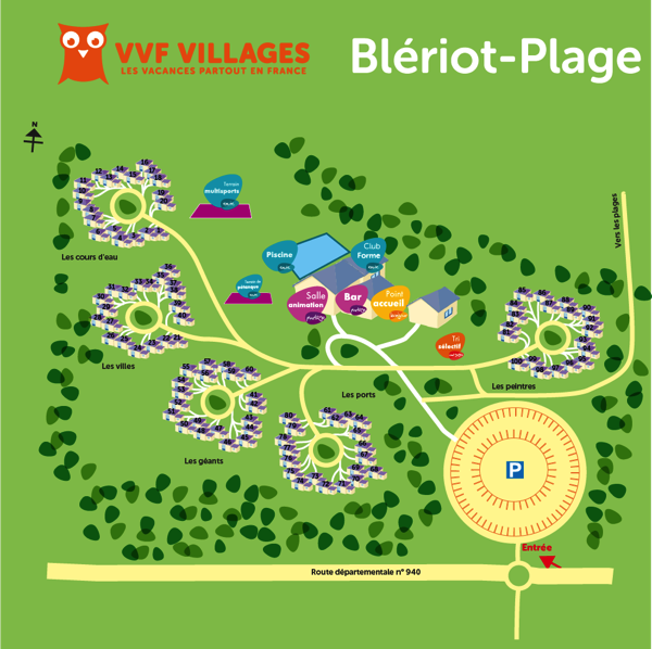 Plan du village de Blériot-Plage