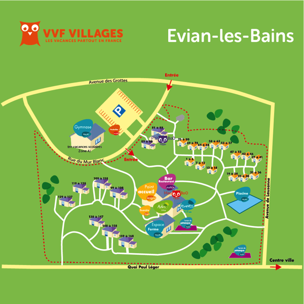 Plan du village de Evian-les-Bains