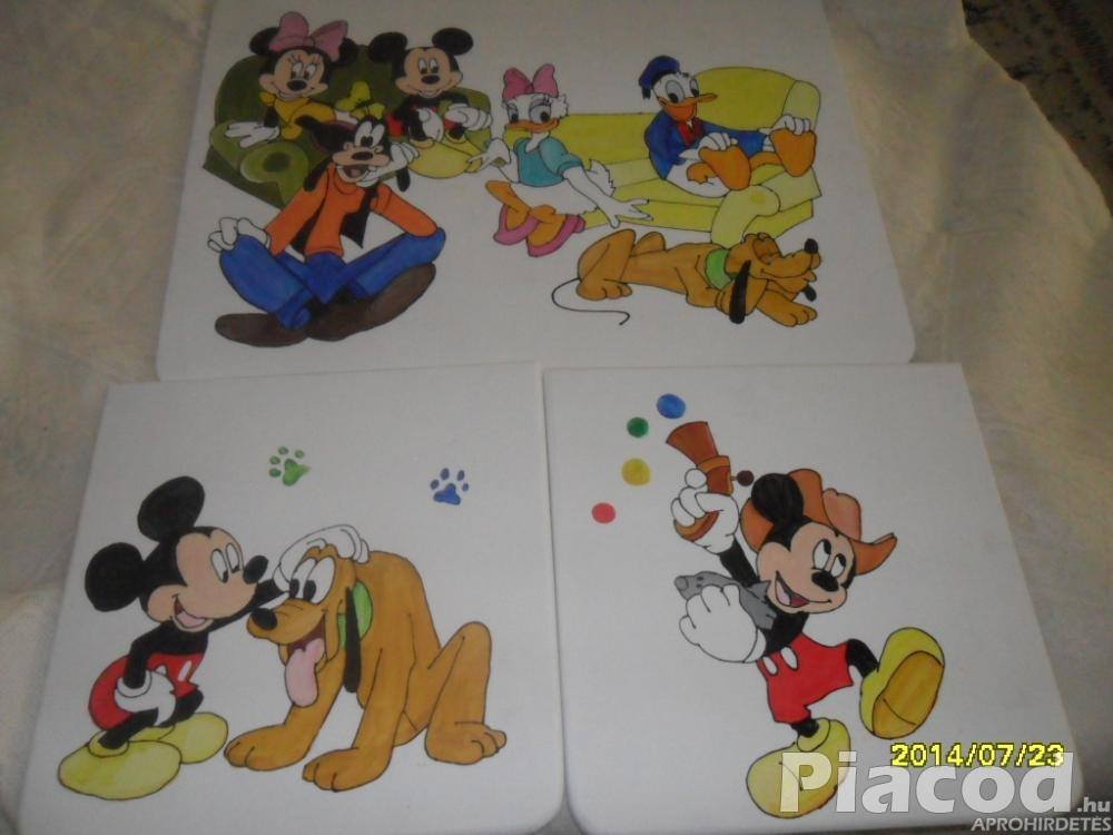 Mickey egér és barátai fa gyerekasztal és két szék kézzel festve