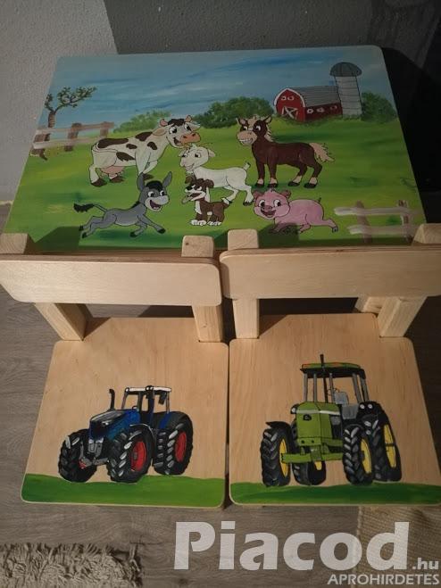 Egyedi festéssel fa gyerekasztal farmos