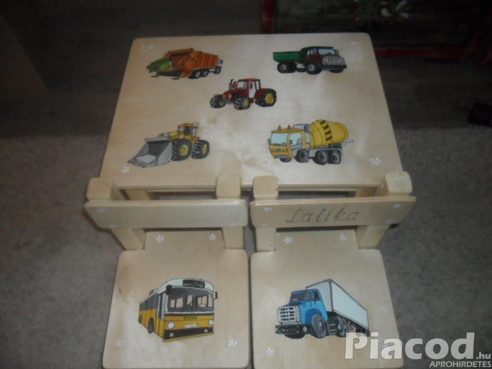 Traktoros ,munkagépes egyedi fa gyerek asztal két székkel