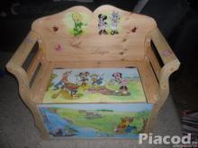 Fenyő gyerek játéktárolós pad ,lóca kézzel festve