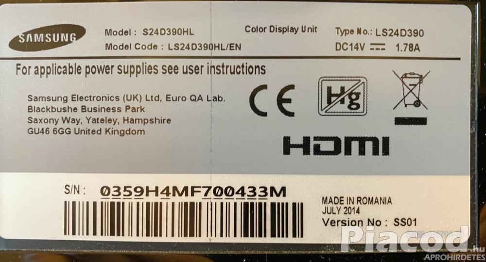 Samsung monitor 24' Full HD