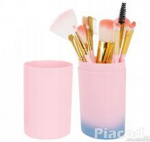 Sminkecset+kefe készlet 12 db-os rózsaszín.