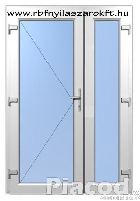 Gealan műanyag 2 szárnyas bejárati ajtó tele üveges kivitel Raktárról!