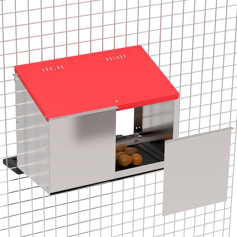 """Legenest """"Tiger"""" für Hühner aus Metall - Abrollnest , 2 Abteilungen, zur Anbringung am Stall"""