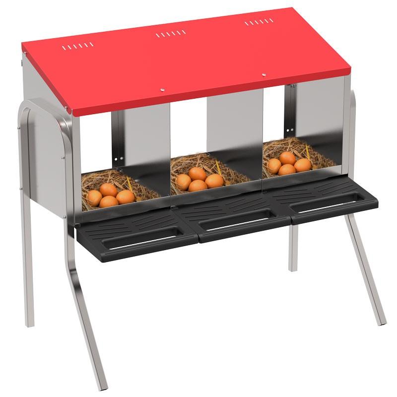 """Legenest """"Tiger"""" für Hühner aus Metall - zum Hängen oder Stellen, 3  Abteilungen, Eierfach, mit Standfüssen"""