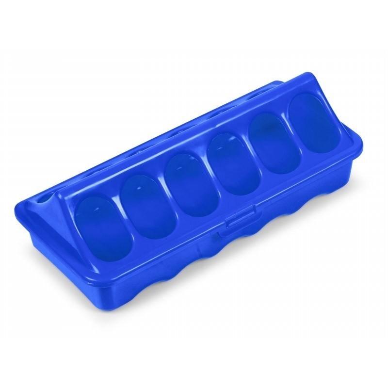 Geflügelfuttertrog mit 12 Fressöffnungen, ideal für Küken, blau, 20cm