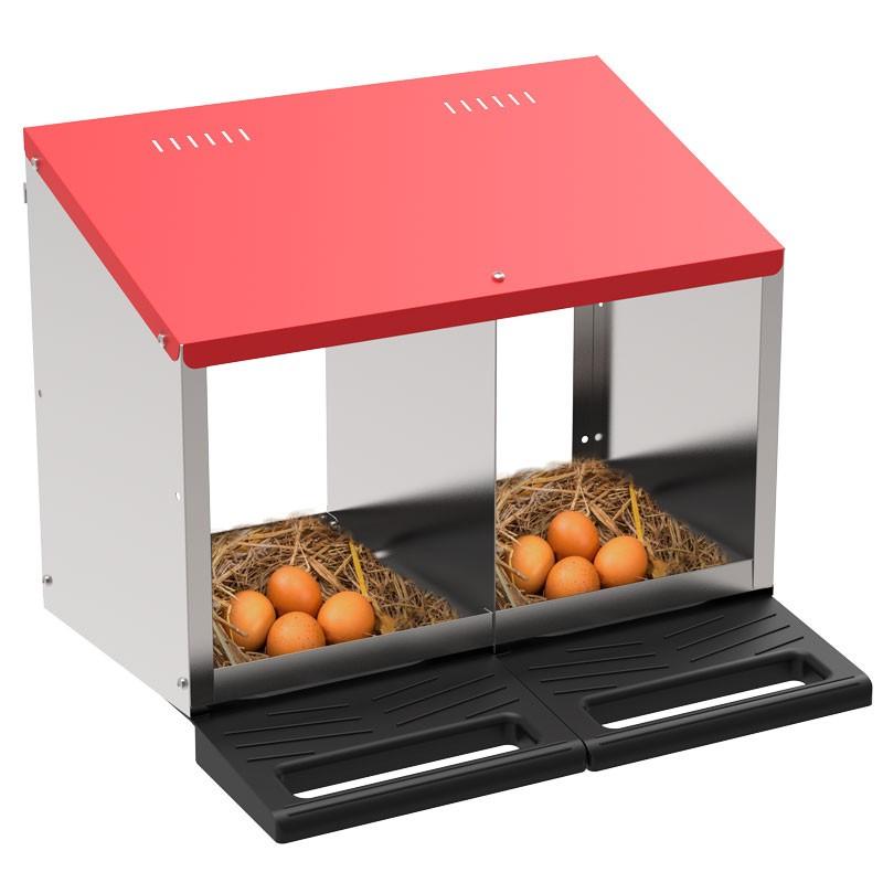 """Legenest """"Tiger"""" für Hühner aus Metall - Abrollnest zum Hängen oder Stellen, 2  Abteilungen, Eierfach"""