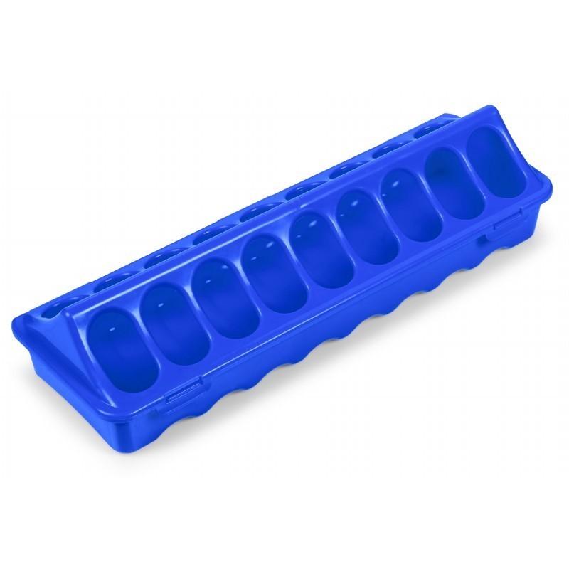 Geflügelfuttertrog  mit 18 Fressöffnungen, ideal für Küken, blau, 30cm