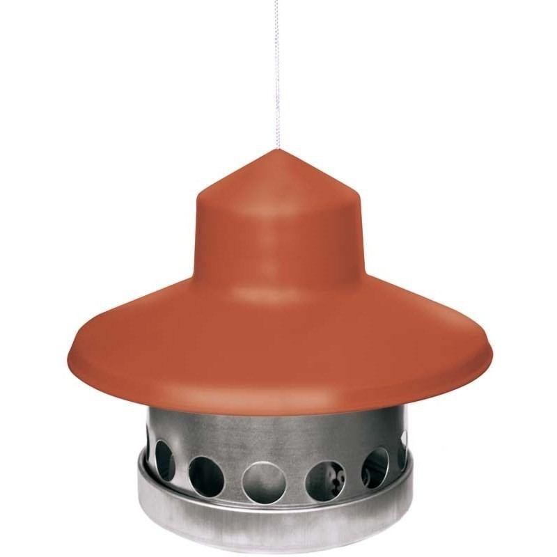 10kg Futterautomat für Wachtel aus Metal mit Terrakotta Dach