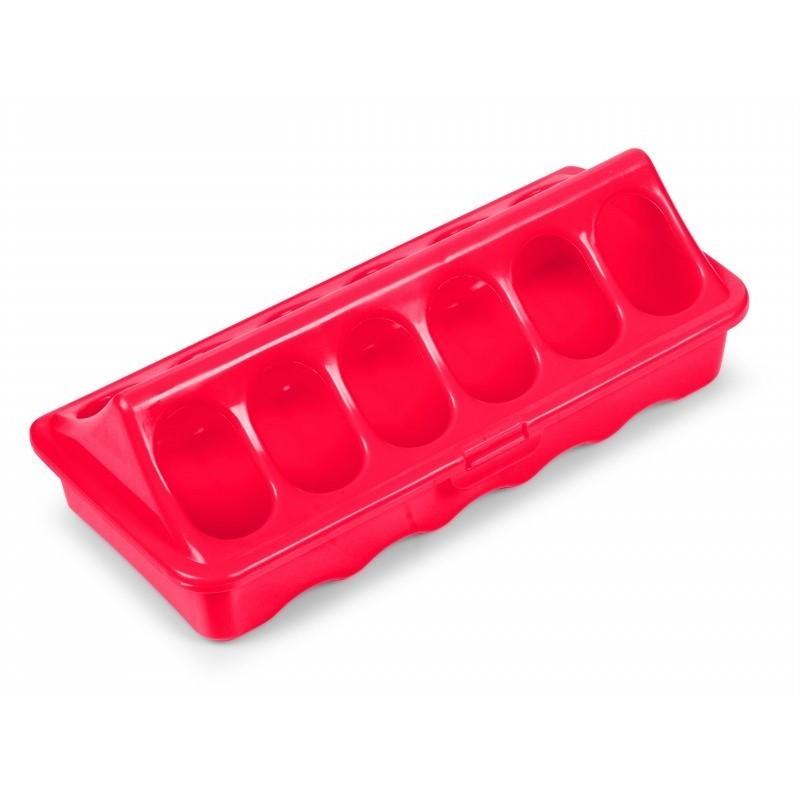 Geflügelfuttertrog mit 12 Fressöffnungen, ideal für Küken, rot, 20cm