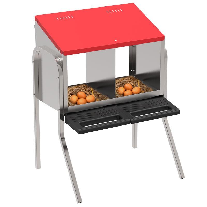 """Legenest """"Tiger"""" für Hühner aus Metall - Abrollnest zum Hängen oder Stellen, 2  Abteilungen, Eierfach, mit Standfüssen"""