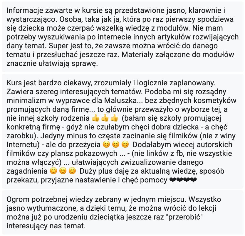 Opinia o Kursie Szkoły Rodzenia z Anną Nowak-Dudą