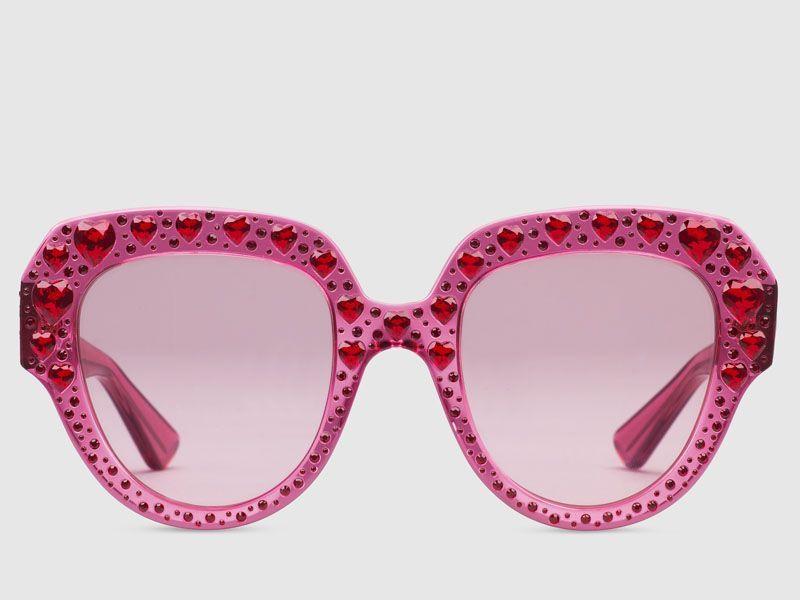Sonnenbrille mit quadratischem Rahmen aus Acetat mit Kristallen ...