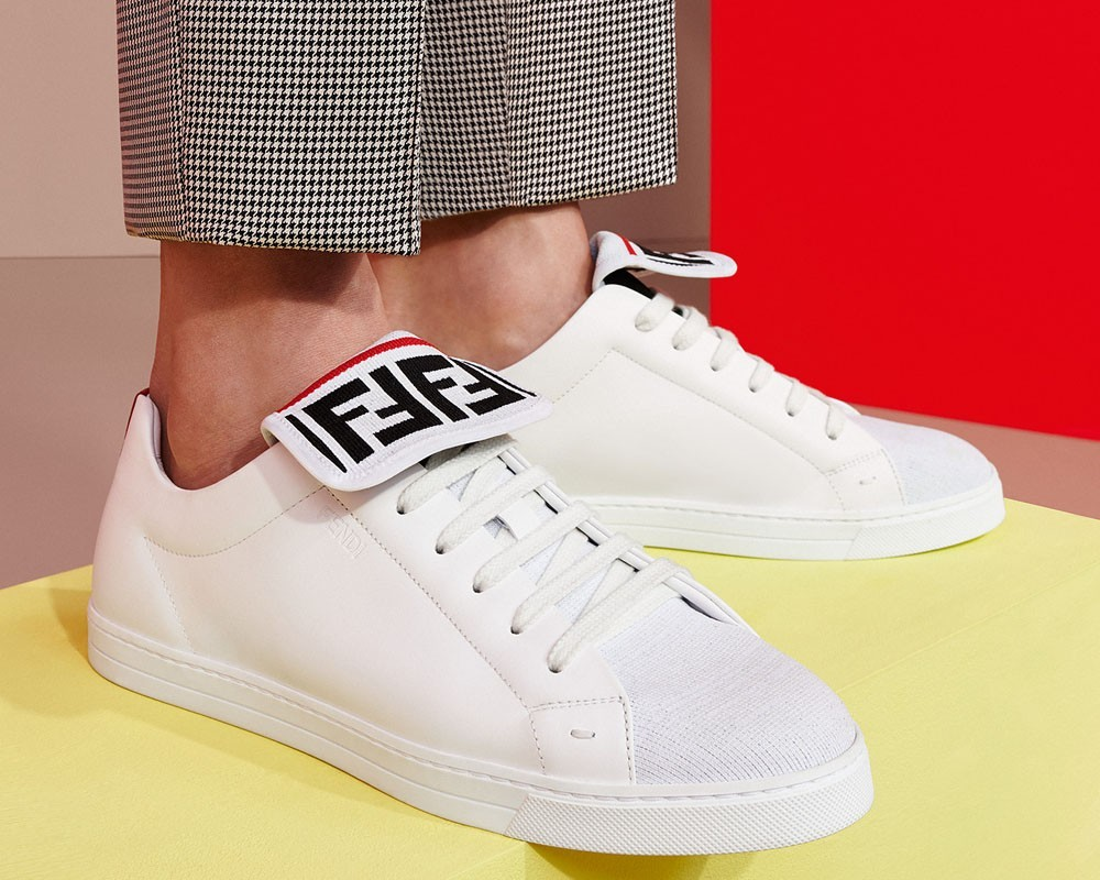 Fendi white mesh and leather low-tops