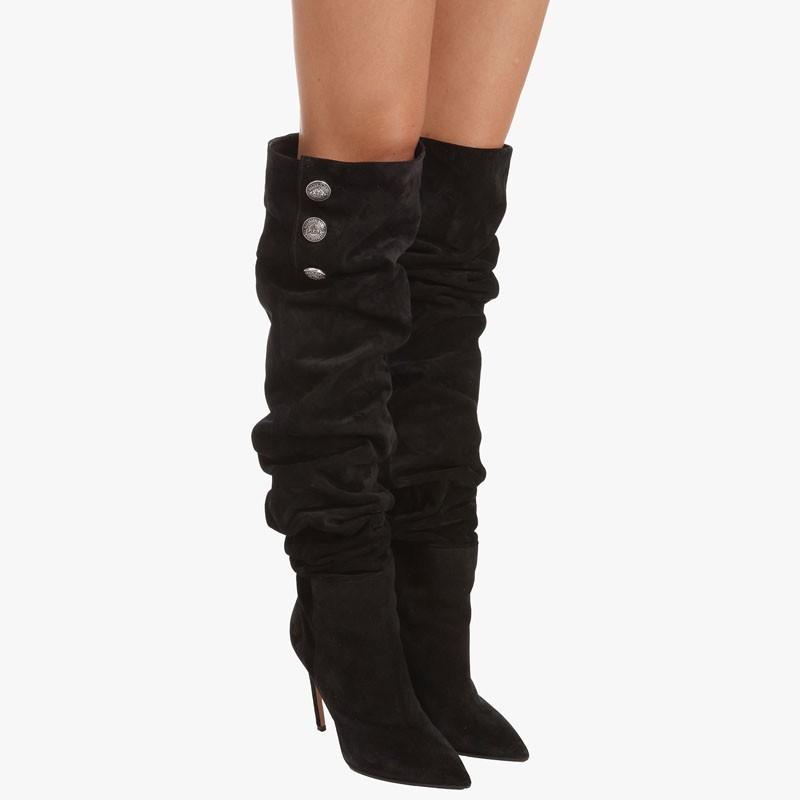 315aaeb14cb30 Balmain presents the Janet black suede thigh-high boots