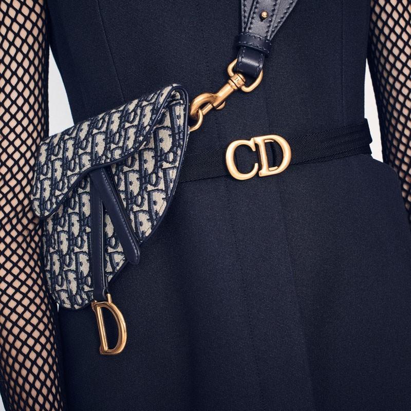 af6f9a3cb Dior presents the Saddle belt bag in blue Dior Oblique jacquard canvas with  blue calfskin leather details. | Brandoo