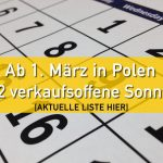 Freie Sonntage und Feiertage in Polen für 2018