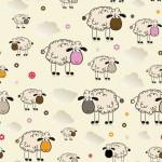 Bárányok bézs alapon design egyedi szublimált textil méteráruhoz