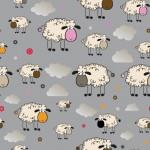 Bárányok szürke alapon design egyedi szublimált textil méteráruhoz