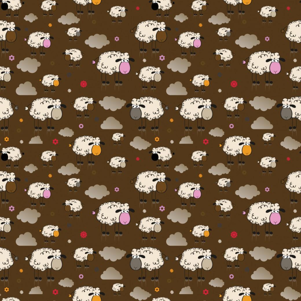Bárányok barna alapon design egyedi szublimált textil méteráruhoz