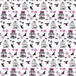 Madárkalitka design egyedi szublimált textil méteráruhoz