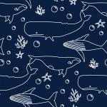 Fehér bálnák design egyedi szublimált textil méteráruhoz
