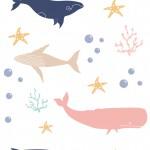 Színes bálnák design egyedi szublimált textil méteráruhoz
