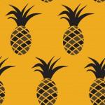 Fekete ananászok sárga alapon design egyedi szublimált textil méteráruhoz